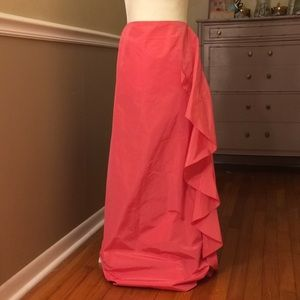 Dana Buchman shimmery side ruffle maxi skirt